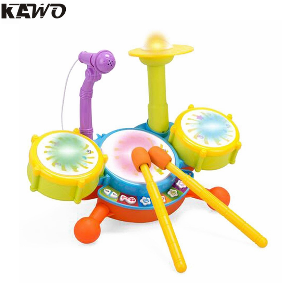 KAWO Kids Beats Flash Light Toy Microfone Infantil Drum Set With Adjustable Sing-Along Microphone kawo kids beats flash light toy drum set with adjustable sing along microphone