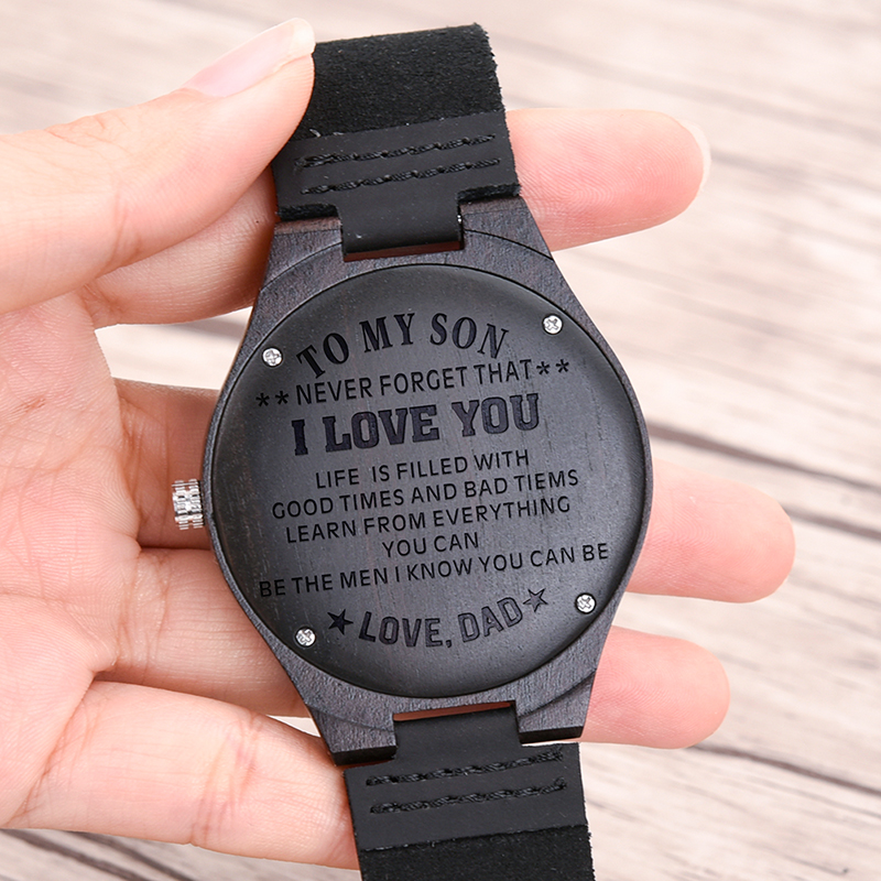 Family Gifts Personalized Special Groomsmen Wood Engraving Watch 11