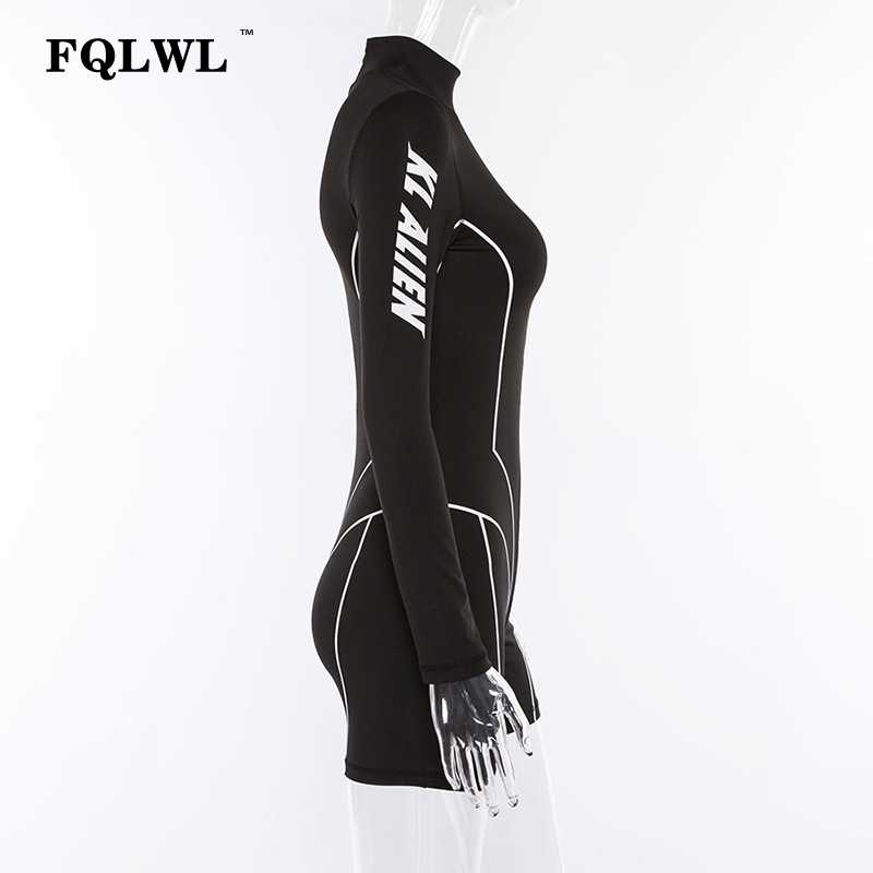 f19c423eff ... FQLWL Letter Print Long Sleeve Sexy Rompers Womens Jumpsuit Short  Zipper Fitness Black Bodycon Female Jumpsuit
