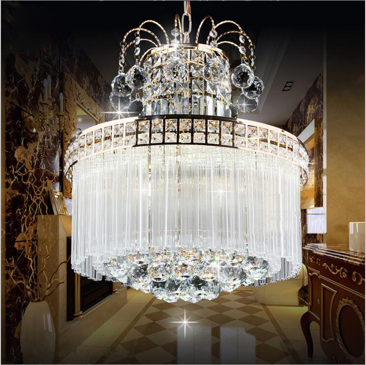 New living room crystal chandelier bedroom crystal lamp golden round LED restaurant lamps Crystal Bar Decorated Round Living led living room bedroom restaurant pendant chandelier wave shaped crystal lamps bar dining room led lights 100% quality guarantee