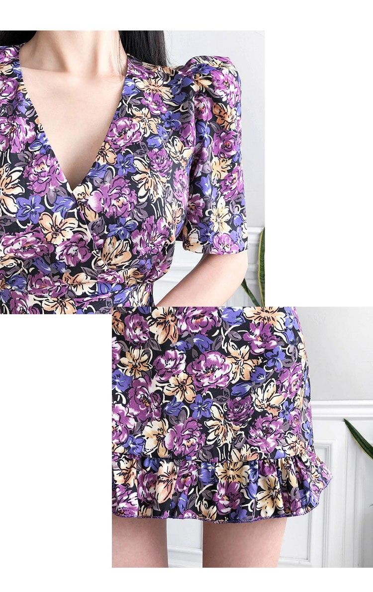 HTB1Sb36XoGF3KVjSZFvq6z nXXaB - Summer V-Neck Short Sleeves Floral Print Mini Dress