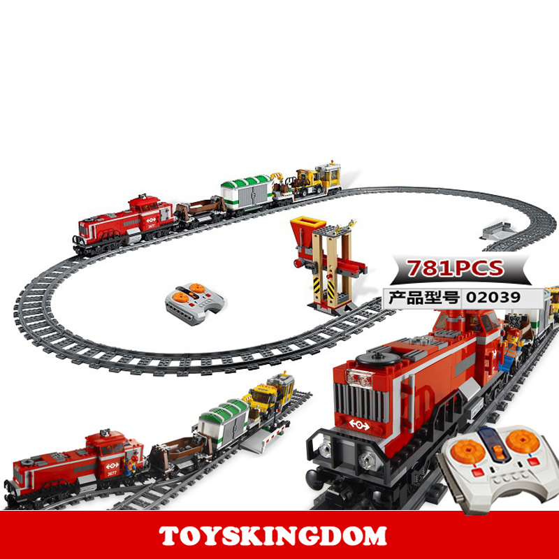 Classic city series RC Red cargo train building block worker figures trucks bricks 3677 radio remote control toys collection цена и фото