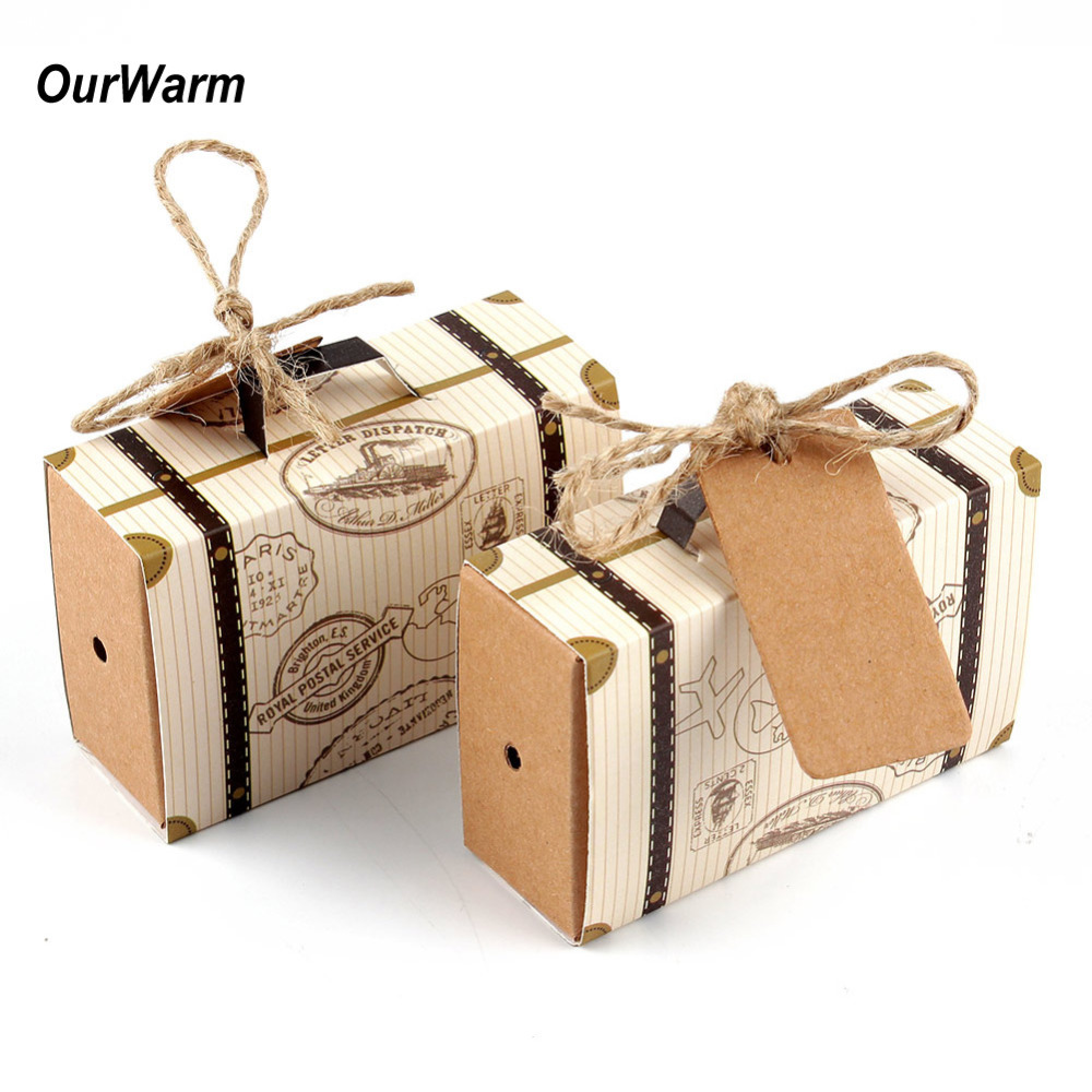 Buy 50pcs mini suitcase kraft candy box for Table valise