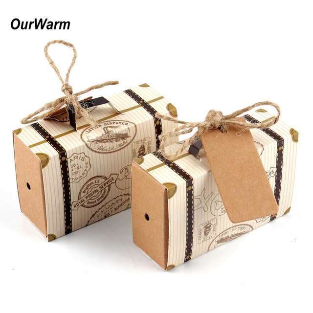 50pcs Mini Suitcase Kraft Candy Box Bonbonniere Wedding Gift Bo Travel Themed Party For Anniversary Birthday
