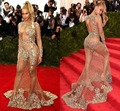 2016 nueva Unique Beyonce Sexy Scoop Tulle Celebrity Dresses Hot Sale de manga larga completo Crystal