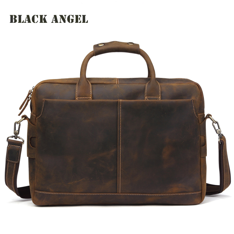 BLACK ANGEL Genuine Leather Men bags Vintage Design Business Men Briefcase Messenger Shoulder Laptop Bag Handbag