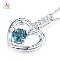 Павлин звезда прекрасно 14 К белого золота London голубой топаз кулон сердце Цепочки и ожерелья 0.04 ct diamond