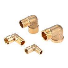 цена на DRELD 1/8 1/4 3/8 1/2 BSP Female x Male Thread 90 Deg Brass Elbow Pipe Fitting Connector Coupler For Air Water Fuel Copper