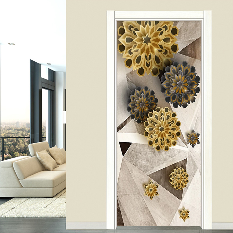 Door Sticker Modern Fashion Polygons 3D Retro Abstract Flowers Door Decoration Wallpaper Living Room PVC Self Adhesive 3D Decal|Door Stickers| |  - title=
