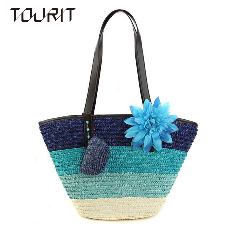 2016 Fashion Knitted Flower Straw Bag Summer Fashion Women ...