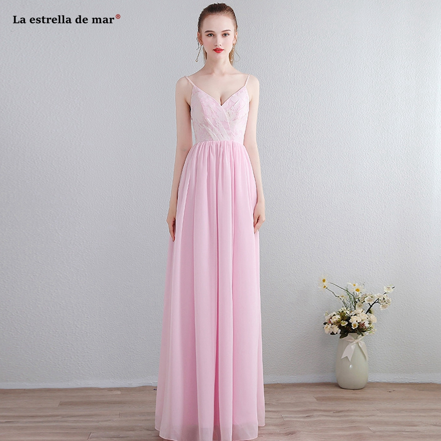 Vestido madrinha2018 new lace chiffon sexy V neck Spaghetti Straps a Line pink   bridesmaids     dresses   long plus size brautjungfernk