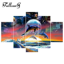 FULLCANG Dolphins Swim 5pcs Diamond Painting Cross Stitch Multi Picture Embroidery Diy 5D Square Mosaic F1094