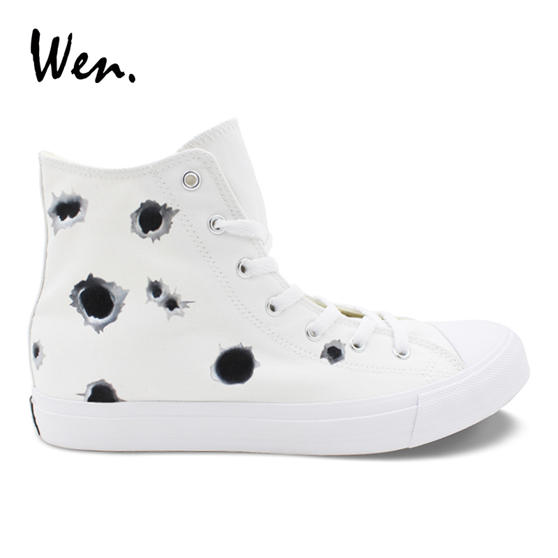 Wen Original Design Hand Painted Shoe A number of Bullet Hole High Top White Flat-soled Casual Shoes Womens Mens Canvas Sneakers wen women vulcanize shoes high top white canvas sneakers round toe low heeled casual flat original design food series patterns