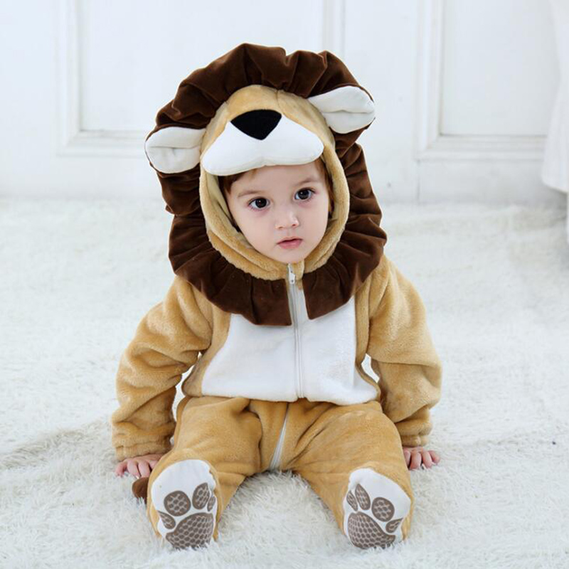 Baby Animal Lion Kigurumi Pajamas Clothing Newborn Anime Infant Romper Onesie Cosplay Costume Outfit Hooded Jumpsuit Winter Suit