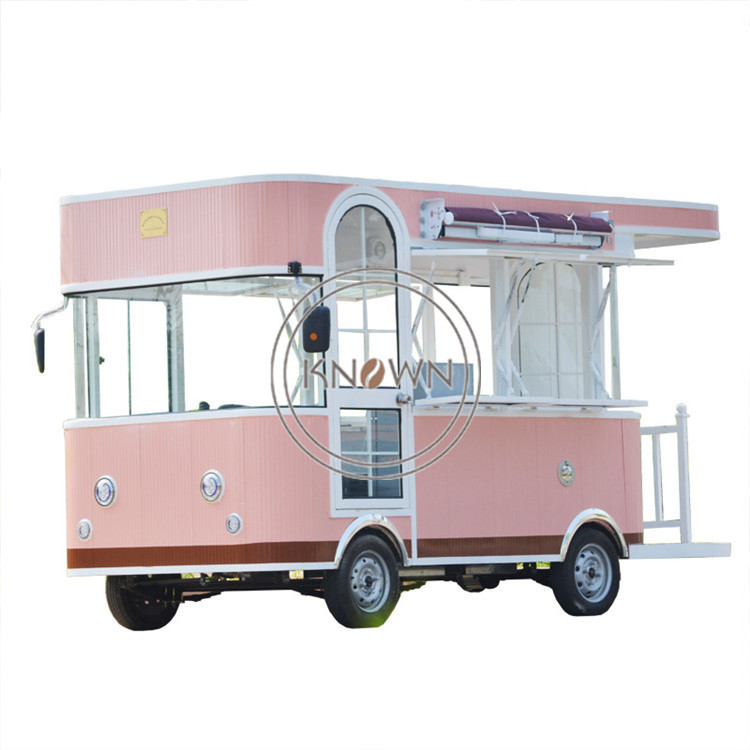 Customized Electric Pink Colored Fast Food Ice Cream Fruits Mobile Food Cart Truck