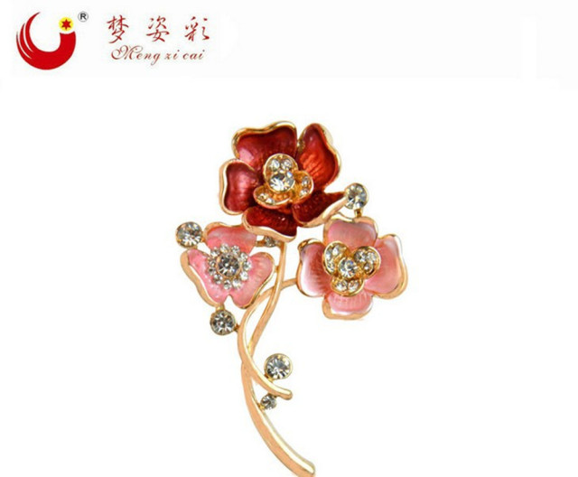 9efbc79d39c MZC New Poppy Red Flower Brooch Metal Anime Gold Brooches Femme Women's  Shirt Dress Broches Pins Brosche Costume Jewelry Gifts