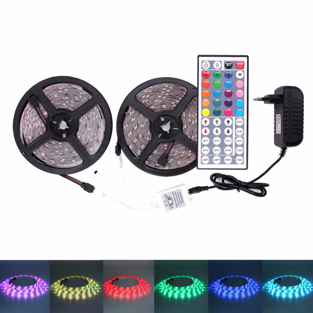 5050 RGB LED strip light waterproof 5m 10m fita de led Lights tape diode feed tiras lampada DC 12V+Remote Control+Power Adapt 10m 5m 3528 5050 rgb led strip light non waterproof led light 10m flexible rgb diode led tape set remote control power adapter