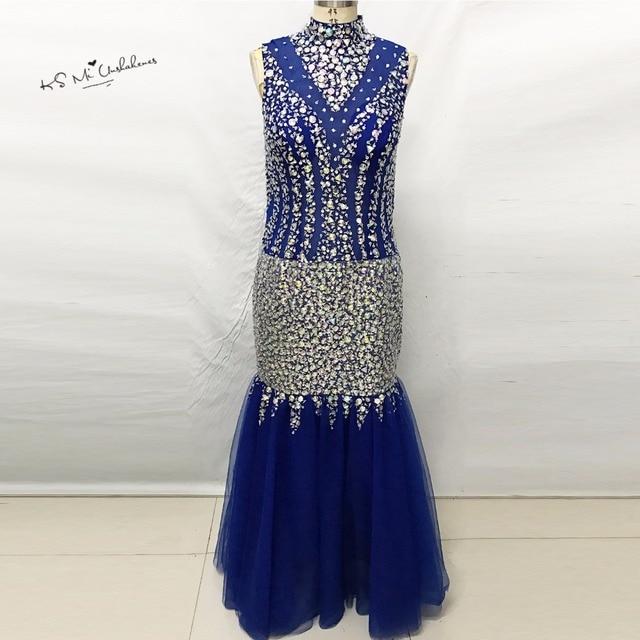 Abendkleider Kristall 2017 Brautkleider Luxus Elegante Royal Blue ...