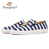 Piergitar 2019 смешанные цвета полосатые парусиновые мужские кроссовки с заказной короной шелковые Дизайнерские мужские лоферы ручной работы бе