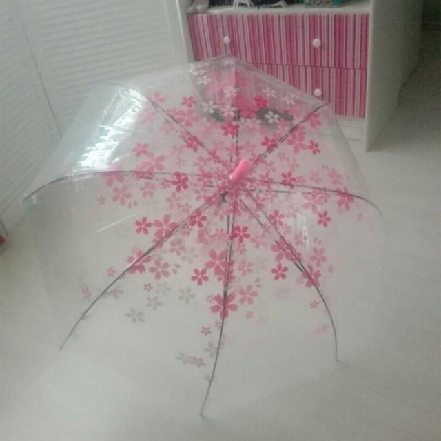 Fashion Transparent Parapluie Creative Women Rain Sun Umbrella Long Handle Cherry Blossom Mushroom Princess Romantic Umbrella