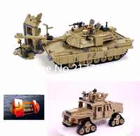 KAZI 10000 Military Technic Series the M1A2 Abrams Main Battle Tank model Building Block Classic 2 in 1 Toys for children