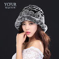 YCFUR Fashion Women Fur Caps Winter Knit Rex Rabbit Fur Beanies Hats With Flowers Warm Winter Fur Berets Female