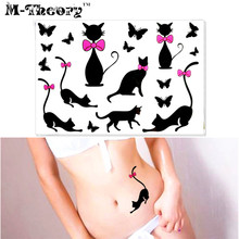 M-Theory Sexy Temporary Makeup Tattoos Body Arts Bowknot Cats Flash Tatoos Stickers 17x10cm Tatto Bikini Swimsuit Makeup Tools