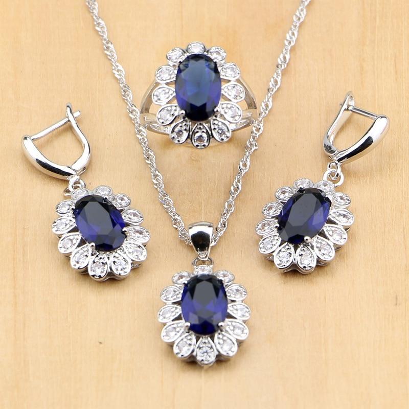 Design; In Silber 925 Brautschmuck Blau Zirkon Weiß Perlen Schmuck Sets Für Frauen Hochzeit Ohrring/anhänger/ring/halskette Set Novel