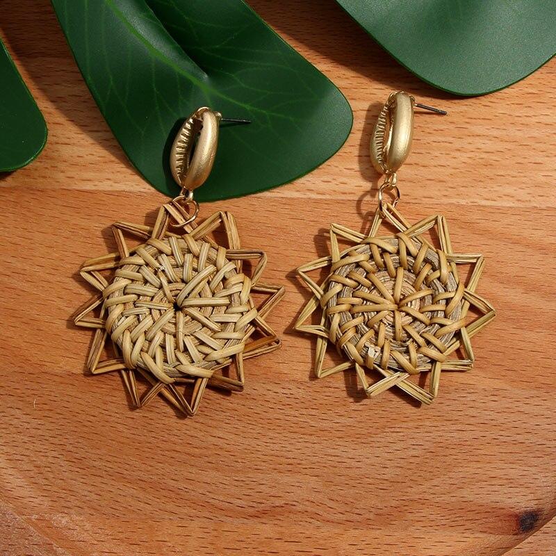 Flatfoosie nouvelle corée ronde boucles d'oreilles pour femmes naturel géométrique en bois bambou paille armure rotin tricot vigne plage boucle d'oreille 4