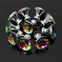 MTGATHER 10Pcs 30mm Diamond Crystal Glass Alloy Door Drawer Cabinet Wardrobe Pull Handle Knobs Drop Worldwide