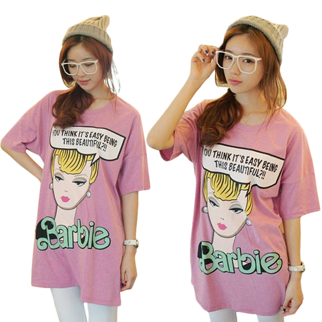 Dibujos Animados Rosa Camiseta Manga Suelta De Corta Gráficos Barbie Color ECxqpt