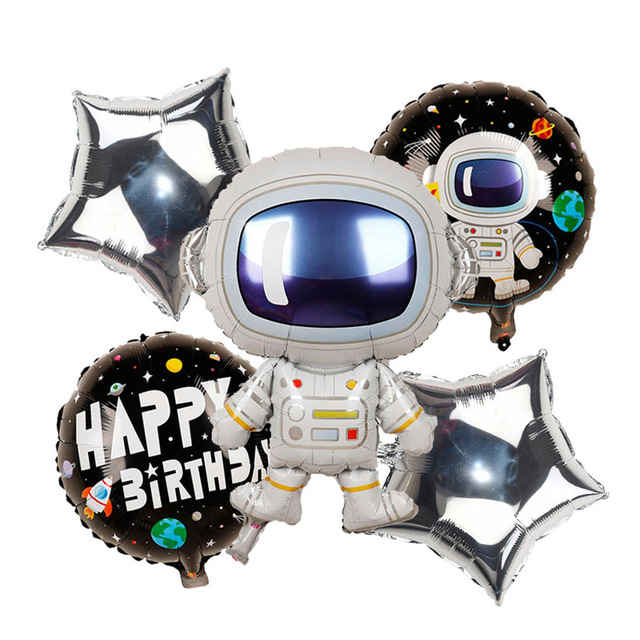 Outer Space Party Astronaut Rocket Ship Foil Balloons Galaxy/Solar System Theme Party Boy Kids Birthday Party Decoration Favors 3