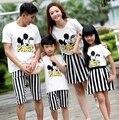 Семья наряды женщина девушки мальчиков устанавливает микки + полосатые брюки дети детей комплект