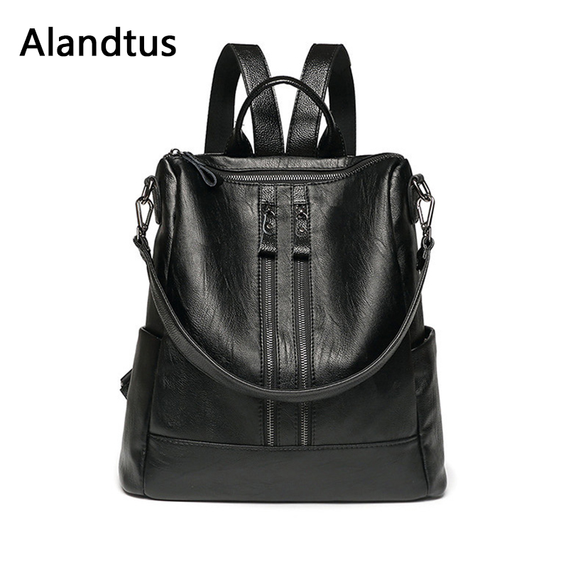 Alandtus Preppy Style Women Backpack Fashion Backpacks For Teenager Girls Casual School Bags Big Ladies Travel Backpacks