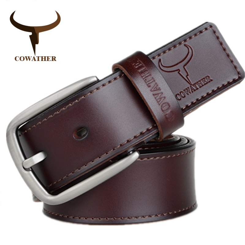 COWATHER fashion design cow genuine leather 2019 new men   belts   good quality male   belt   for men newest pin buckle XF013