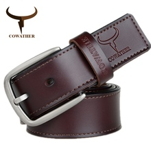 COWATHER fashion design cow genuine leather 2019 new men belts good quality male