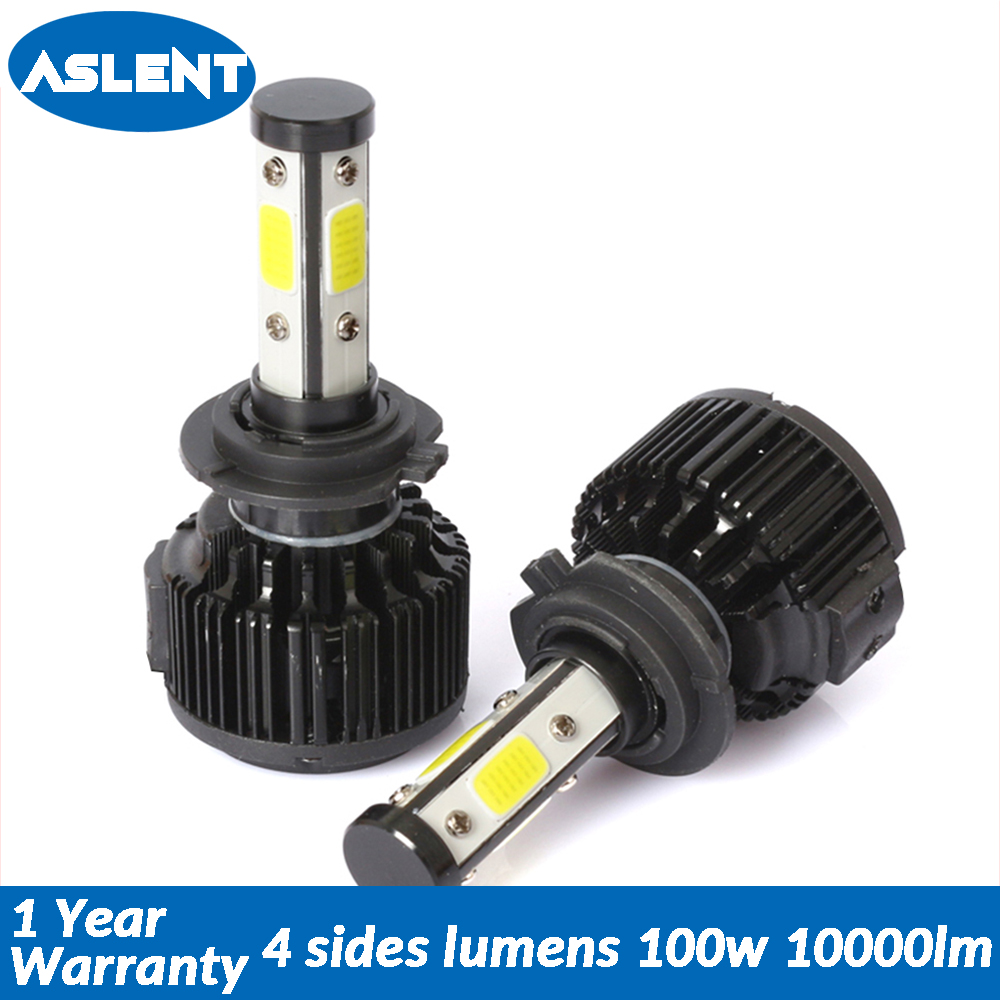 Aslent 4sides 2PCS Auto 100W 10000LM H7 LED H4 H11 H8 Car Headlight Bulb 6500K Automobiles Lights 12V 24V Front Fog Light