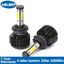 Aslent 4sides 2PCS Auto 100W 10000LM H7 LED H4 H11 H8 Car Headlight Bulb 6500K Automobiles Lights 12V 24V Front Fog Light