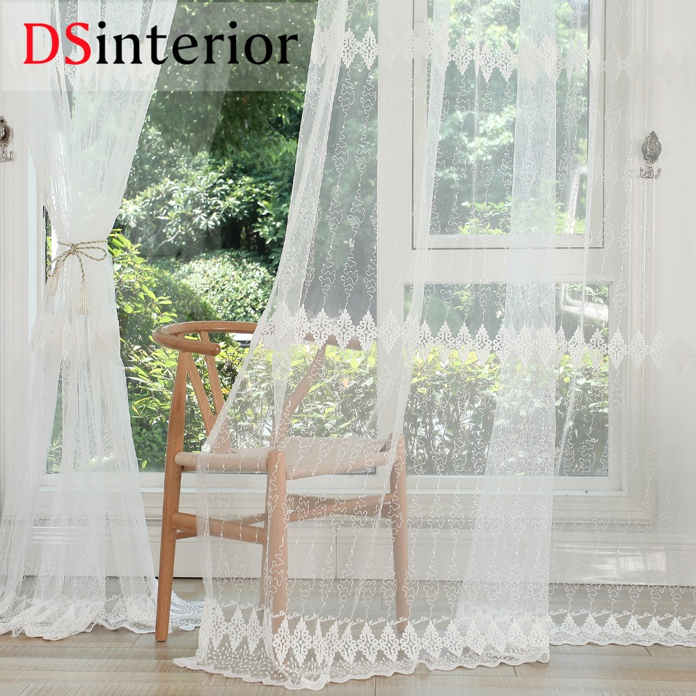 White window curtains - Dsinterior White Embroidery Tulle Sheer Curtains For Living Room Or Bedroom Window China Mainland