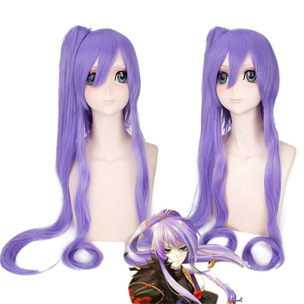 Vocaloid Gakupo Freno yuet 100 cm Lungo Rettilineo Cosplay Parrucca per le Donne di Moda Anime Del Partito Del Costume Parrucca Viola Clip di Artiglio coda di cavallo