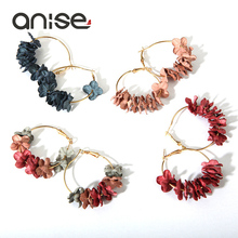 Anise Fashion Cloth Flower Earrings for Women Colorful Petal Geometric Big Gold Circle Hoop Brincos Oorbellen Bijoux