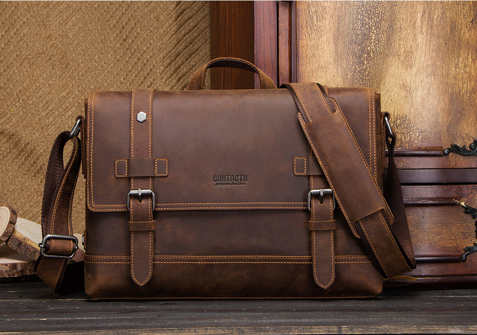 a genuine leather briefcase brown