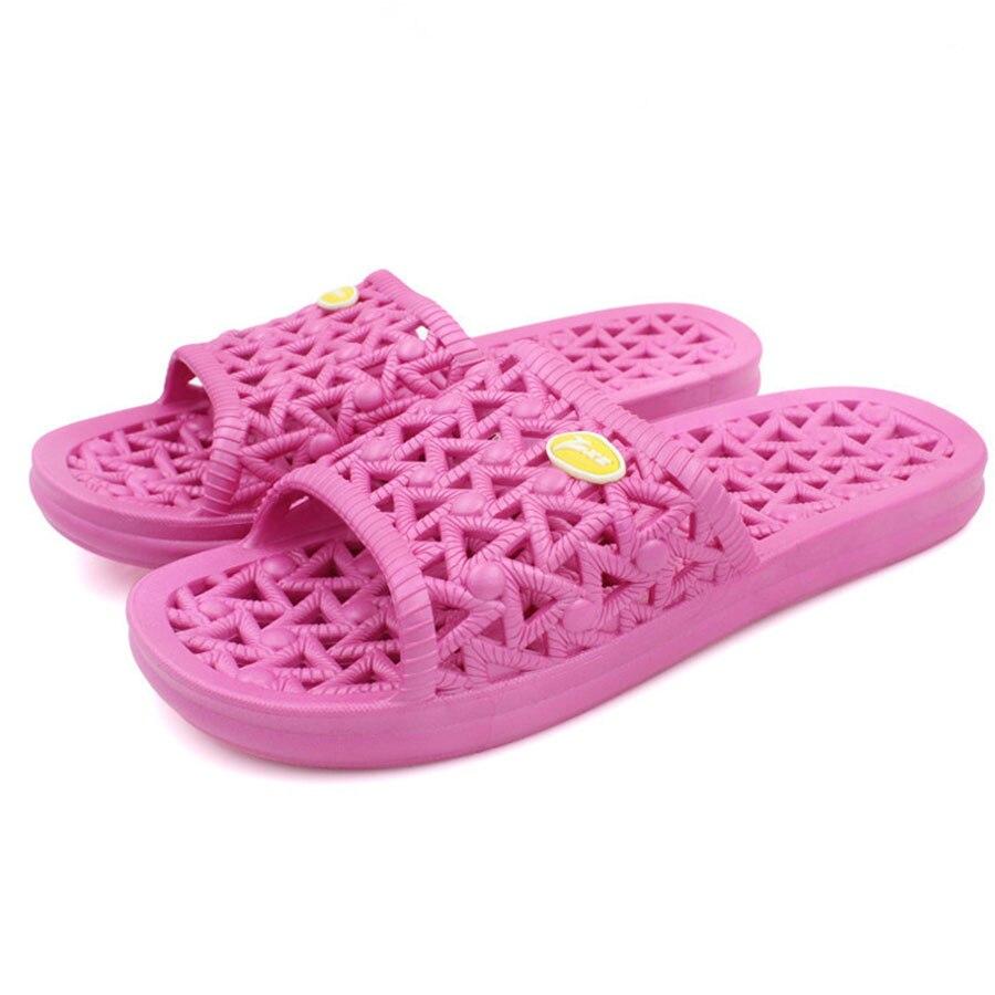 2016 korean home slippers bathroom slippers pvc anti skid hollow autumn and winter women - Magenta Bathroom 2016