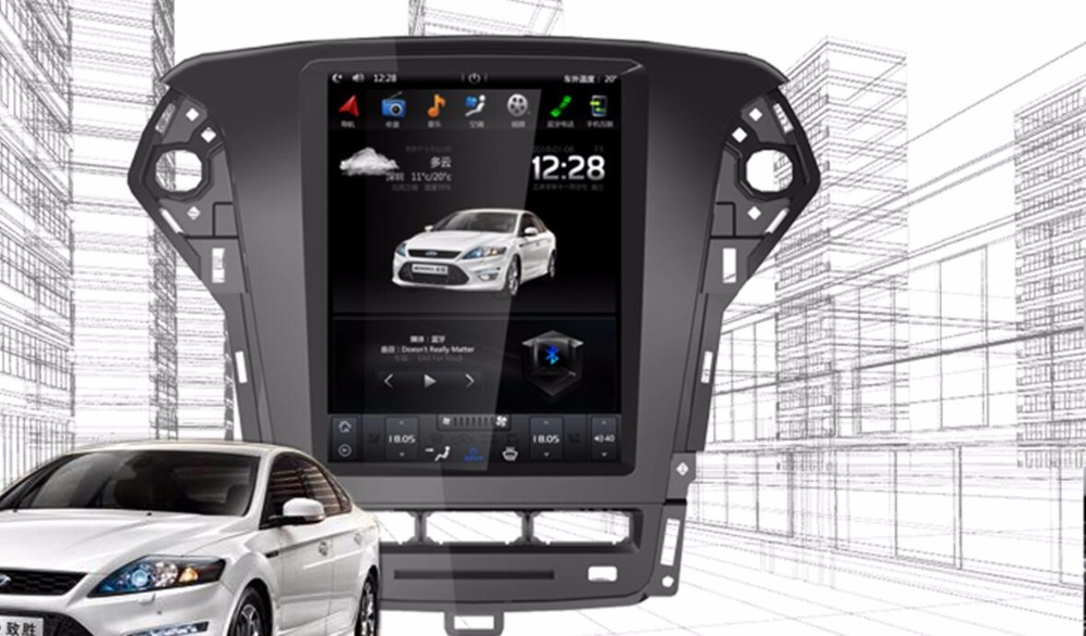 Vertical Screen Tesla Style <font><b>Android</b></font> 6.0 <font><b>10.4</b></font> Inch <font><b>Car</b></font> Radio <font><b>Dvd</b></font> Player <font><b>Gps</b></font> For <font><b>Ford</b></font> <font><b>Mondeo</b></font> 2 Din <font><b>Navigation</b></font> 2007-2010 2011 2012 image