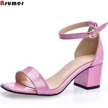 ASUMER/ г. Летняя новая модная элегантная женская обувь на квадратном каблуке с пряжкой женские босоножки на высоком каблуке розового и синего цвета Большие размеры 32-42
