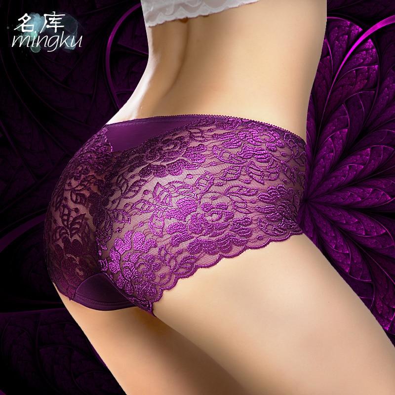 Buy Large European size New Fashion Summer Women's Panties Transparent Underwear Women Lace Soft Briefs Sexy Lingerie panties XXXL