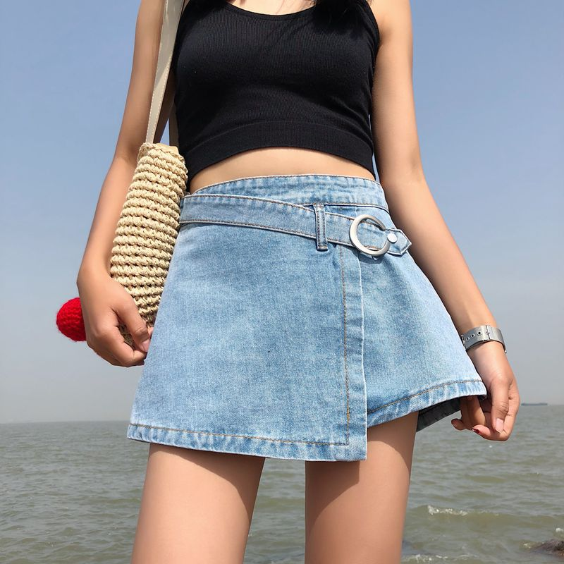 Women Skorts Shorts Skirt High Waisted Casual Irregular Culottes Mini Hot Pants