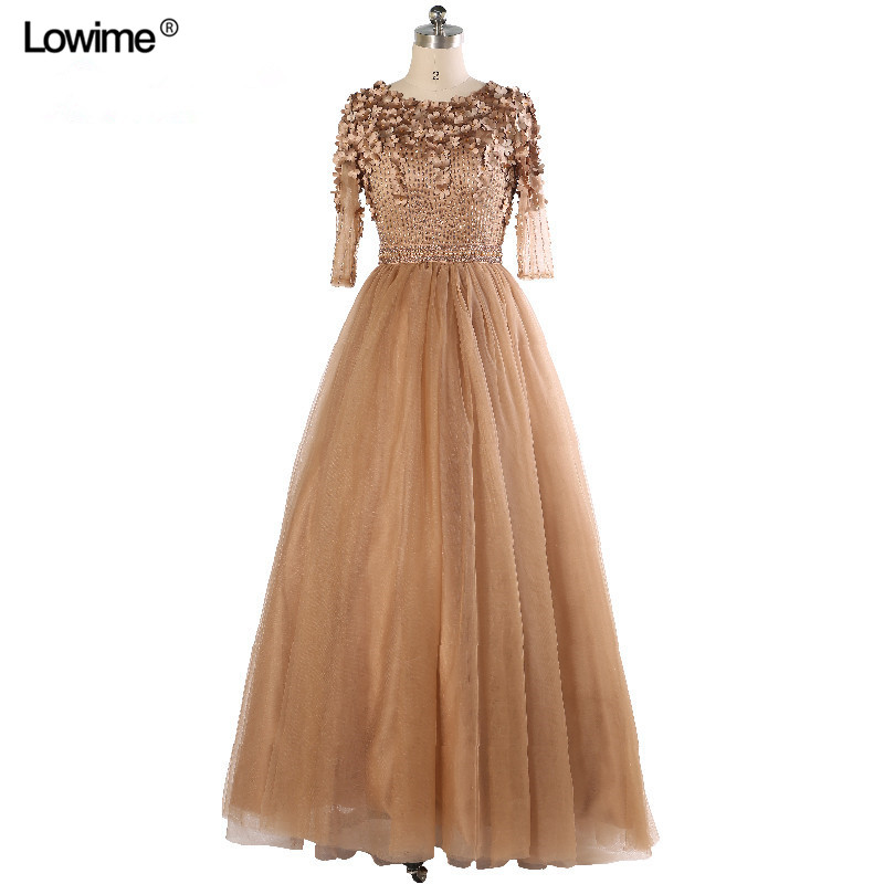 Elegant Long Muslim Golden Formal Evening Party Prom Dress Dubai Turkish Arabic Evening Dresses