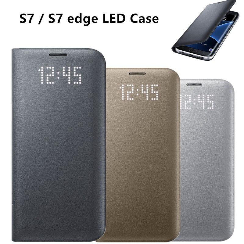 imágenes para Led original s-view smart cover case ef-ng935 protectora del teléfono para samsung galaxy s7/s7 edge con la función del sueño