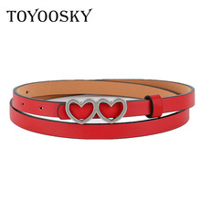 TOYOOSKY Thin Women Belts for Lady Heart-shaped Buckle belts PU Leather Women Belt Alloy Pin Buckle Belts of Travel Daily life